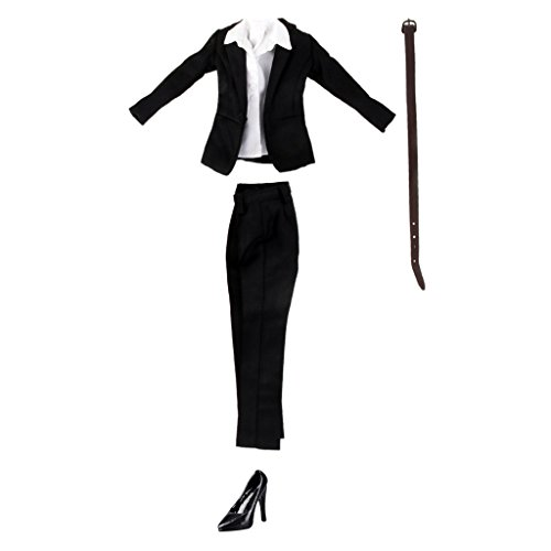 Business Kostüm Kleidung - Sharplace 1/6 Damen Business Kleidung Anzug- Inkl. Mantel, Hosen, Hemd, Gürtel, High Heel Schuhe
