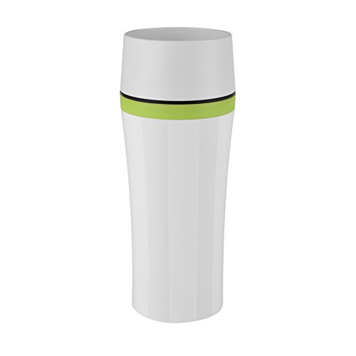 emsa 515618 Emsa 514176 Isolierbecher, Mobil genießen, 360 ml, Quick Press Verschluss, Weiß/Grün, Travel Mug Fun