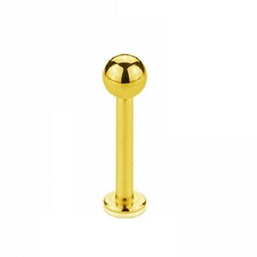 eeddoo Piercing Labret Lippen-Piercings Gold Edelstahl Stärke: 1,2 mm Länge: 9 mm