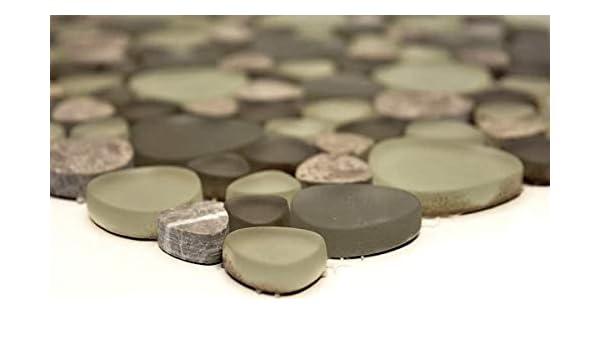 Mosaikfliese Transluzent beige Kiesel Glasmosaik Crystal Stein klar beige gefrostet MOS94-PGN62/_m
