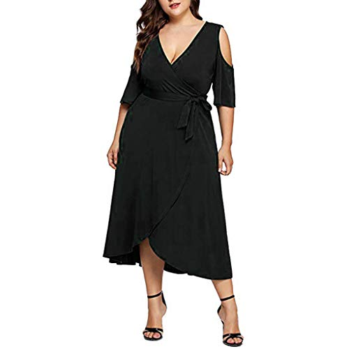 VJGOAL Damen Kleid, Frauen Plus Size Mode V-Ausschnitt Floral Maxi Abend Cocktail Party Hochzeit Boho Strand Frühling Sommerkleid (L / 42, U-Solid-Schwarz) (Size 1920er Jahren Plus)