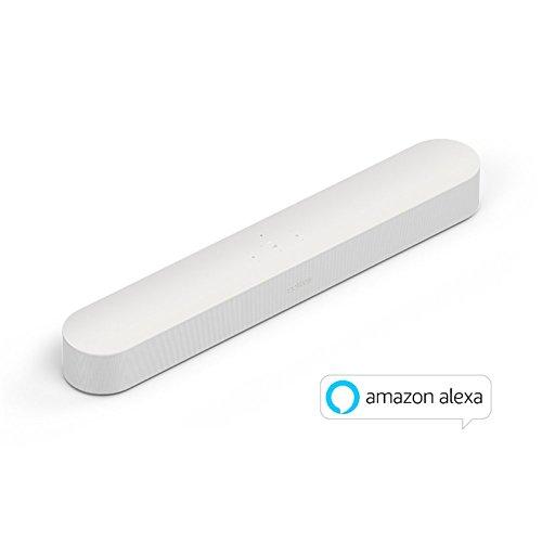 La Nouvelle Sonos Beam - La Barre de Son TV compacte et Intelligente avec Le Service Vocal Amazon Alexa intégré. Home Cinéma multiroom sans Fil et Musique en Streaming dans Toutes Les pièces - Blanc