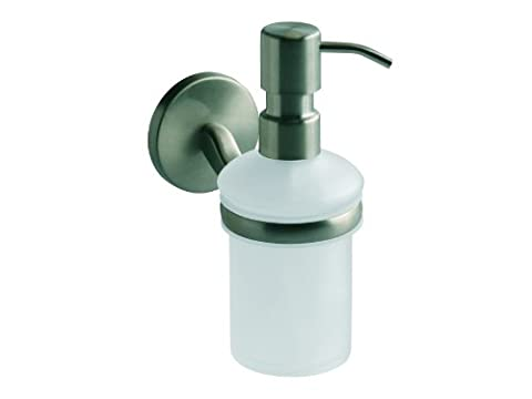 Bisk 72089 Virginia Frosted Glass Soap Dispenser in Brushed Nickel