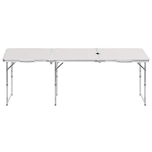 fb3e1e624cdf5 6FT 1.8 m Portable Rectangle Table Pliante avec poignée et Trou de  Parapluie pour intérieur et
