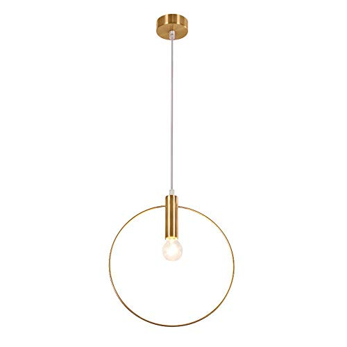 DH DIAODENG - Leuchter/Moderne Kronleuchter Lobby Restaurant single Ring Kunst Dekoration Beleuchtung große goldene Kronleuchter Kronleuchter E14 Lampe, 28cm -