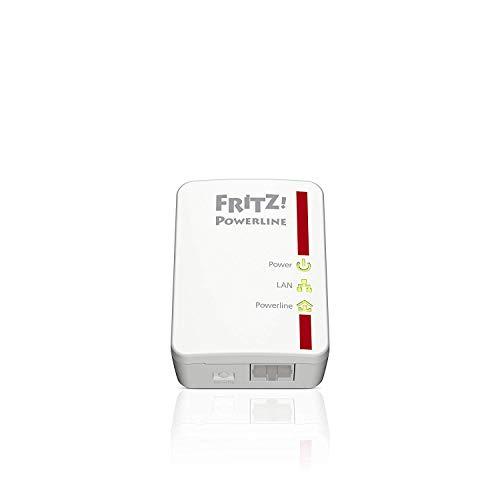 AVM FRITZ! Powerline 510E Kit di 2 Adattatori, Fino a 500 Mbit/s, Porta Fast Ethernet, Plug and Play, Eco Mode, Istruzioni in Italiano