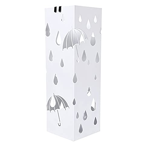 Songmics Umbrella Stand with Hooks and drip tray Standing Holder for Canes/ Walking Sticks 49 cm x 15.5 cm Square LUC49W