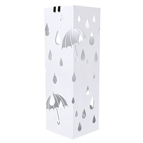 Songmics LUC49W - Cuadrado Paragüero Soporte de Paragüas Con Gancho Plato de plástico 49 x 15,5 x 15,5 cm Blanco