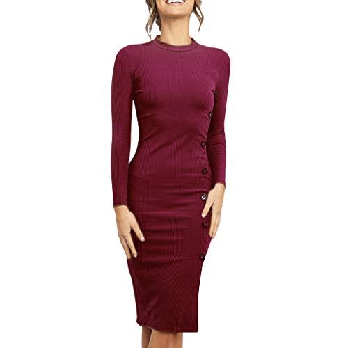 Frauen Sexy Slim Fit Etuikleid Damen Mode Jahrgang O-Ausschnitt Einfarbig Langarm Midi Kleider