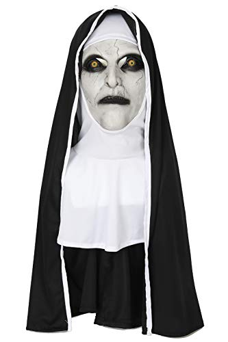 (Wellgift Halloween Nonne Maske & Kopfstück Cosplay Damen Voller Kopf Helm Kostüm Karnevals Fancy Dress Merchandise 2nd Version)
