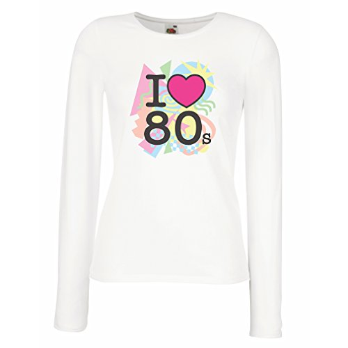 I Love 80s Long Sleeve Top for Women, white or black