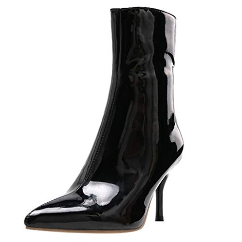 Damen Ankle Stiefel Art- und Weisefrauen dünne Fersen-Reißverschluss-Absatz-Lackleder-Aufladungen zeigten Zehe-Schuhe Täglich Wild Basic Ausgehen Dating Pendeln (Kostüm 4 Ferse)