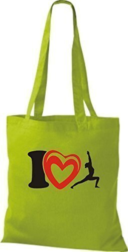 ShirtInStyle Stoffbeutel Baumwolltasche I Love Yogo Joga Sport Gymnastik Farbe Pink limegreen