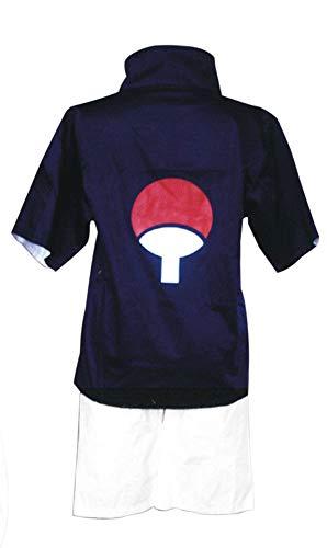 Chong Seng CHIUS Cosplay Costume Outfit for Hidden Leaf Village Genin Uchiha Sasuke Ver 1 (Shippuden Sasuke Uchiha Cosplay Kostüm)
