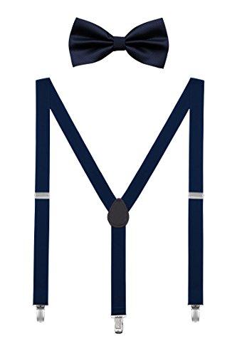 DEBAIJIA Unisexe Bretelle avec Nœud Papillon Ensemble Pour Ados Homme ou Femme Chic Design 3 Clips Y Forme Ceinture Élastique Convient pour 155-180cm