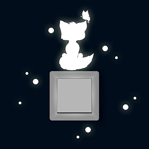 ilka parey wandtattoo-welt Lichtschaltertattoo Lichtschalteraufkleber Lichtschaltersticker Wandtattoo Wandbild Fuchs mit Schmetterling und Punkten Fluoreszierend M1881