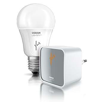 Osram Lightify Starter Kit Gateway, Als Remote-Schnittstelle für alle Lightify-Produkte, LED-Glühlampe, Dimmbar, Warmweiß bis tageslicht 2000K - 6500K und Farbsteuerung RGB, Kompatibel mit Alexa
