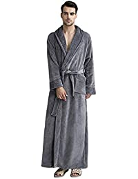 Luxurious Women Men Fleece Flannel Sleepwear Warm Shawl Collared Thicker  Long Unisex Bath Robe Couple Pajamas 7ce3318d5