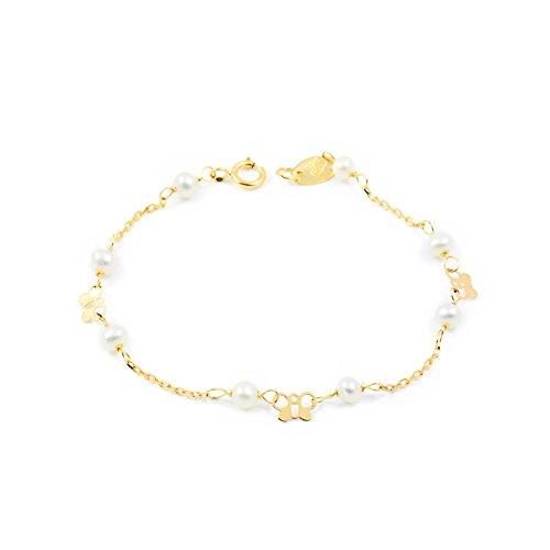 Armband perlen Gelbgold 18 Karats (750) (Gold Schmetterling Armband)