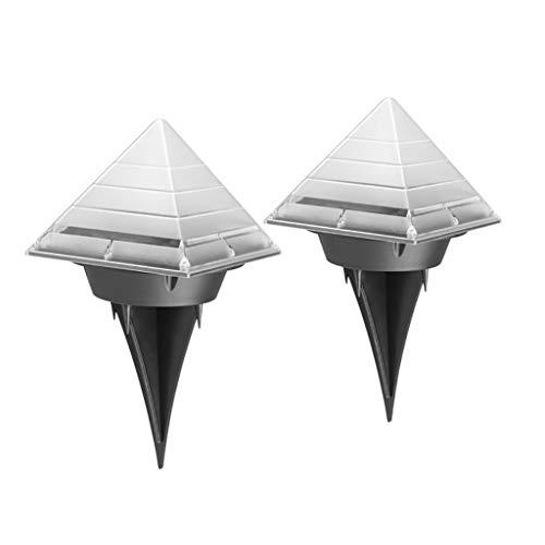 BakeLIN Solarleuchte Garten, Solar Pyramide Rasen Lampe Pyramid Solar Light Outdoor unter Boden begraben Rasen Path Lampe Decor (Weiß) -