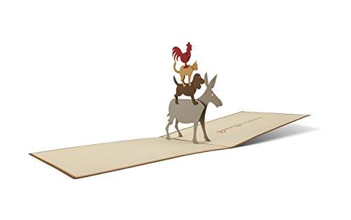 Bremer Stadtmusikanten, Pop-Up Karte als Geschenk für ein Kind oder Souvenir aus Bremen, Klappkarte als Gutschein, A24 (Karten, Geschenke, Kinder)