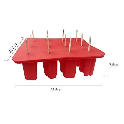 DIYARTS Tierform Eis am Stiel Form 12 Hohlraum Silikon hausgemachte Eis Pop Formen ein Silikontrichter + 50 Stück Holzstäbchen rot