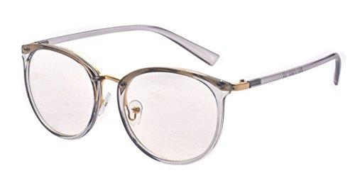 ALWAYSUV Retro Metall Steg Klare Linse Rund Optische Stärke Rahmen Brillenfassung Transparent
