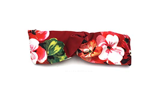 Olici Femmes Bandeau De Cheveux Red Épais Satin Côté Large Bande Tropical Printing Holiday Ceinture