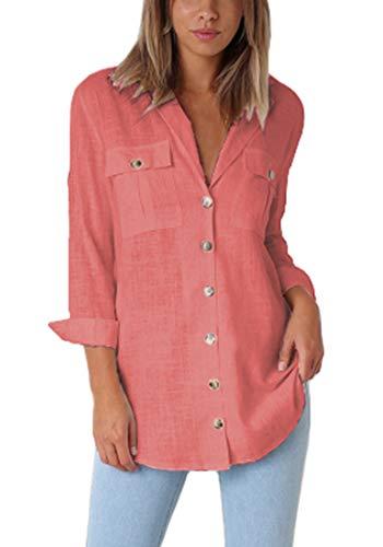 Roskiki Lässiges Frauen Shirt mit Manschetten Ärmel und Button-Down Kragen Koralle XXL -