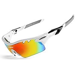 INBIKE Gafas De Sol Polarizadas para Ciclismo con 5 Lentes Intercambiables UV400 Y Montuta De TR-90, Gafas para MTB Bicicleta Montaña 100% De Protección UV(Blanco)