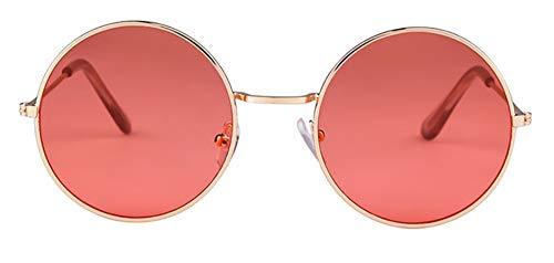 WSKPE Sonnenbrille Frauen Bunte Runde Sonnenbrille Kreis Rosa Linse Klein Sonnenbrille Tönung Schattierungen (Licht Rote Linse)