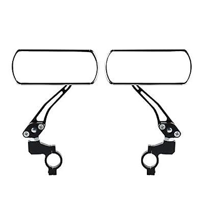 Yizhet 1 Paar Fahrradspiegel Rückspiegel Spiegel für Lenkerende für Fahrrad/Motorrad/E-Bike/Roller/Mofa/Rollstuhl/Kinderwagen Lenkspiegel Set mit weißen Reflektor Verstellbar&Klemm-Montage 360°Drehung