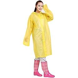 Lopbinte Moda para Hombre Y Mujer Eva Chubasquero Transparente Portátil Al Aire Libre Viajar Chubasquero Impermeable Cámping Poncho con Capucha Amarillo