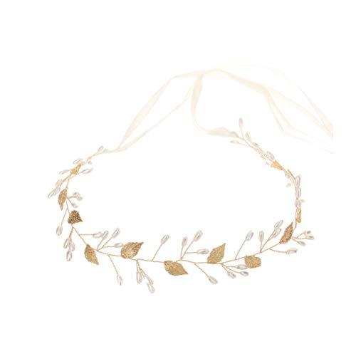 Barock Goldene Blätter Stirnband Perle Perlen Handgemachte Haarband Braut Kopfschmuck Hochzeit Headwear für Frauen (Golden)