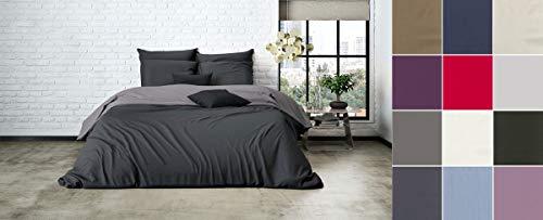 Mistral Uni Einfarbig Wende Bettwäsche Home Edel Perkal 100% Ägyptische Baumwolle, Größe:135x200cm Bettwäsche, Farbe:Dark Grey-Raven Grey