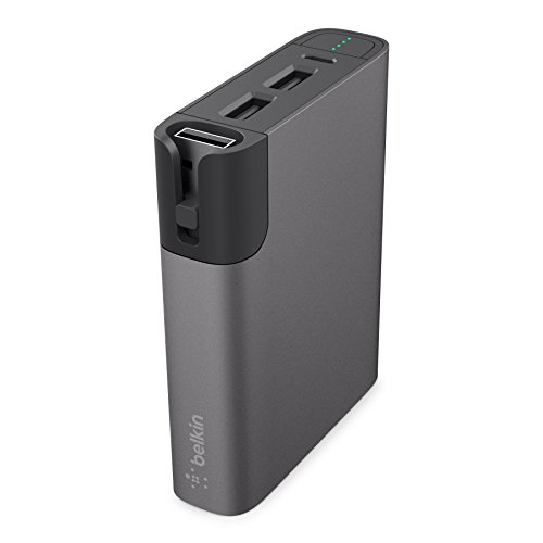 Belkin Premium MixIt Metallic RockStar Power Bank (inkl. Lightning- und Micro-USB-Kabel, 2 USB Anschlüsse, 6600mAh, Battery Pack für Tablets und Smartphones) grau 6600 Usb