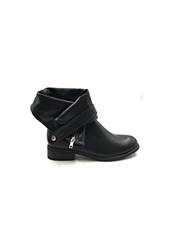 CHIC NANA . Chaussure femme bottine style motard en similicuir. Noir