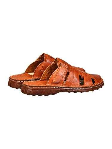 Chaussures Confortable Pour Homme Sandales En Cuir Naturel Avec Une Forme Orthopedique Modele 877 Cognac