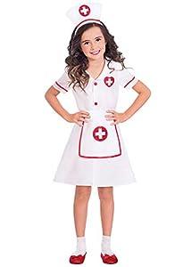 amscan- Darling Nurse 4-6 Years Disfraz, Color Blanco, años (9904745)