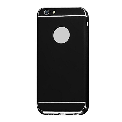 Cuitan 3 in 1 PC Harte Schutzhülle für Apple iPhone 6 / 6s (4,7 Zoll), mit Electroplate Bumper Rück Abdeckung Back Cover Voll Protective Case Hülle Handytasche Rückseite Tasche Handyhülle für iPhone 6 Schwarz