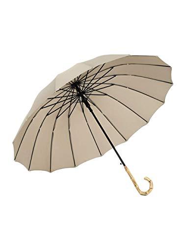 ATR Langer Regenschirm, Holzgriff Leichtgewicht Manuell Einfach Moderner Stil mit 16 Rippen für Reisen Golf Wandern (Farbe: Braun) -
