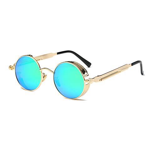 TOOSD Sonnenbrille Polarisierte Unisex Metallgestell Fahren Schutz Brille Flieger-Sonnenbrille Objektiv Einheitsgröße Runde Ersatzscheiben,Green
