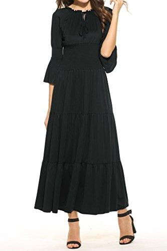 Beyove Damen Renaissance Maxikleid Falten Empire Lang Kleid Stretch Tailliert Kurzarm/Langarm Herbst (Maxi-kleid Stretch)
