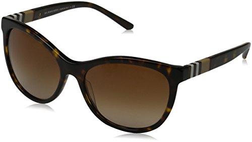 Burberry Unisex BE4199 Sonnenbrille, Mehrfarbig (Gestell: dunkles havana, Gläser: braun-verlauf 300213), Large (Herstellergröße: 58)