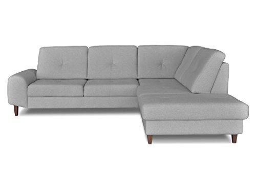 Windsor & Co Droit Convertible Canapé d'Angle, Tissu, Gris Clair, 265 x 225 x 89 cm