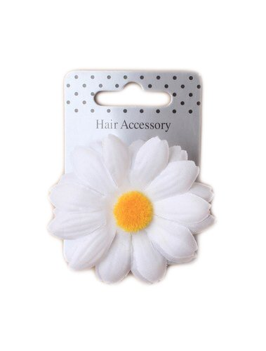 ALANNAHS ACCESSORIES Large White Fabric Daisy on A Forked Beak Clip