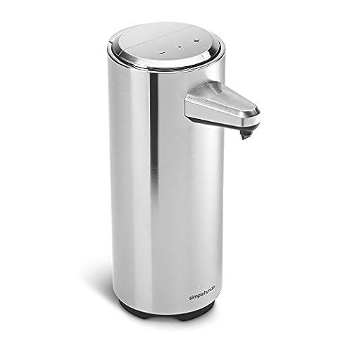 Simplehuman distributeur à capteur rechargeable avec échantillon de savon, nickel brossé - 325ml