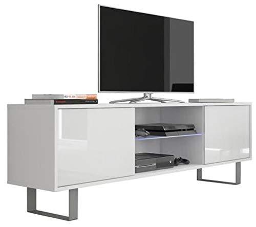 PEGANE Meuble TV Coloris Blanc/Blanc Brillant en Panneaux de Particules avec éclairage LED - Dim : 160 x 36 x 53 cm
