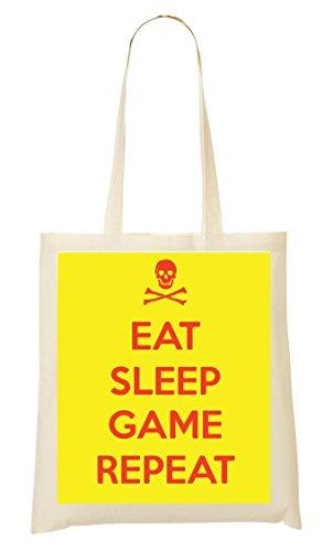 Eat Sleep Game Repeat Skull Sac Fourre-Tout Sac À Provisions
