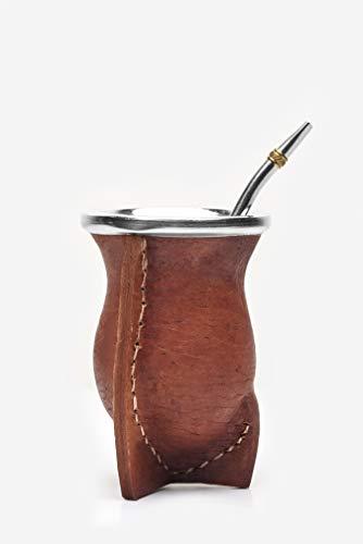 Leder Tee (BALIBETOV [Neu Mate natürlicher handgefertigter Kürbis (Mate Becher) in Leder gefüttert - mit Bombilla (Sorbet) für Matein (BRAUN))
